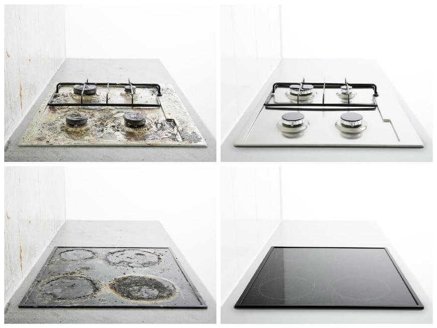 результат работы пароочистителя - чистая кухонная плита